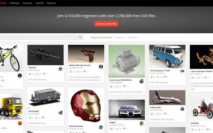 Grabcad: download modelli 3d, stampa e workbench