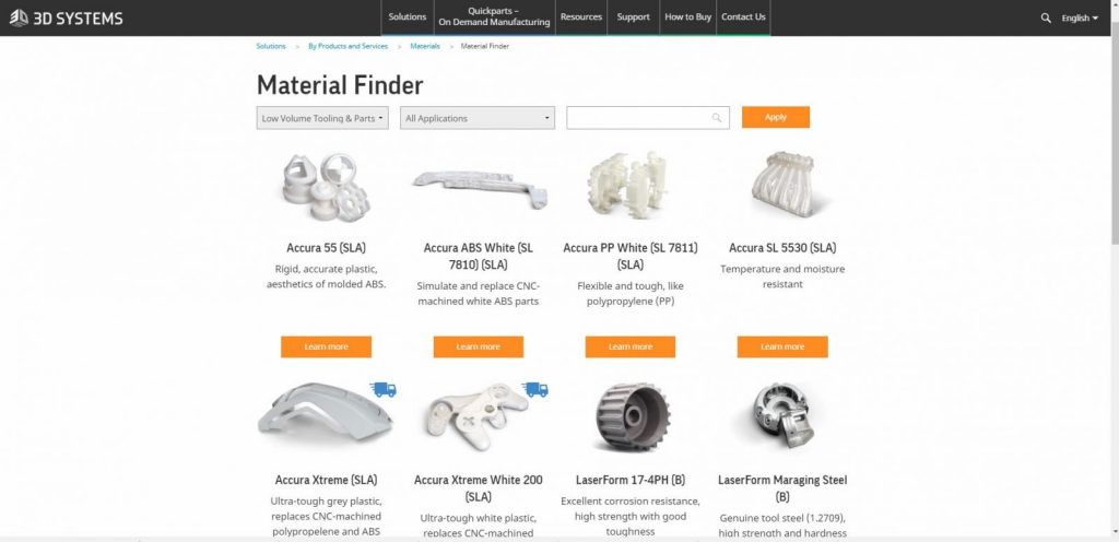 stampa 3d systems material finder